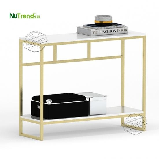 OEM Metal Frame Gold And White Sofa Console Table furniture suppiler china