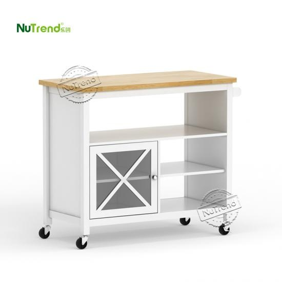 wholesale larger white rustic 3 tier kitchen island trolley suppiler
