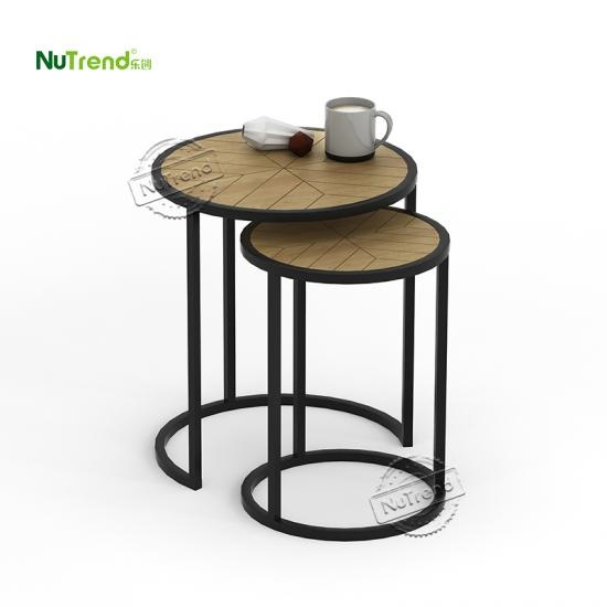 wholesaleMetal Frame Round Nesting End Side Table Set Of 2 factory